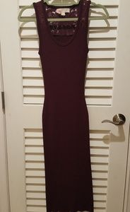 Fitted Ribbed Wine Dress